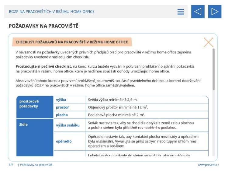 Checklist požadavků na pracoviště v režimu Home Office